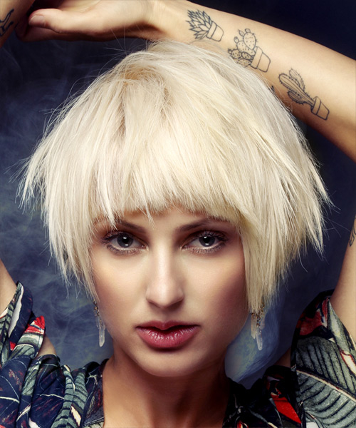 Short Straight Casual Shag  Hairstyle with Blunt Cut Bangs  - Light Blonde