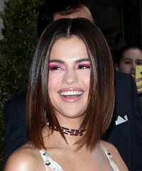 Selena Gomez Medium Straight Formal  Bob  Hairstyle   - Dark Brunette Hair Color
