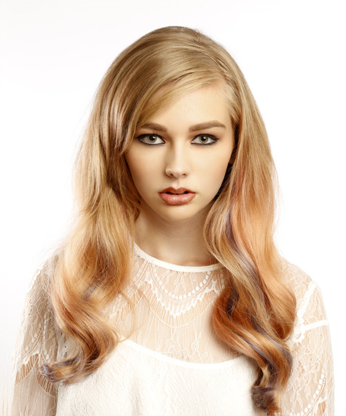 Long Wavy Medium Blonde Hairstyle with Side Swept Bangs