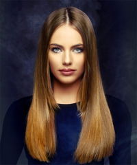Long Straight    Brunette and  Red Two-Tone   Hairstyle