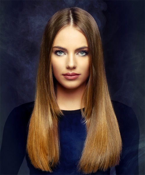 Long Straight Formal    Hairstyle   -  Brunette and  Red Two-Tone Hair Color