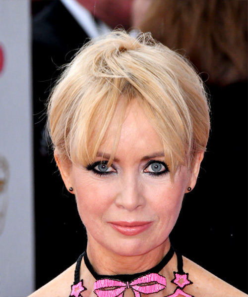 Lysette Anthony     Light Blonde Pixie  Cut with Layered Bangs
