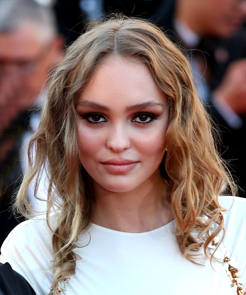 Lily Rose Depp Medium Wavy Casual    Hairstyle   - Dark Blonde Hair Color