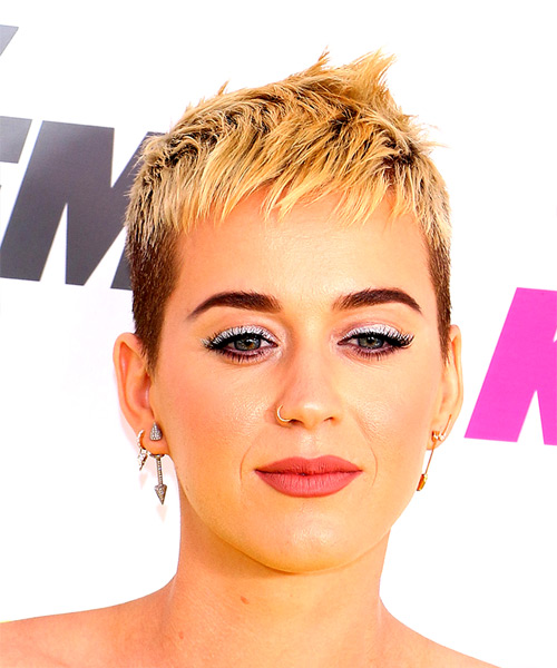 Katy Perry Short Straight Alternative  Pixie  Hairstyle with Razor Cut Bangs  - Light Blonde Hair Color