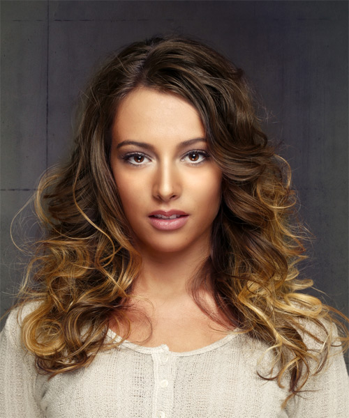 Long brunette hair with golden bayalage highlights hairstyle