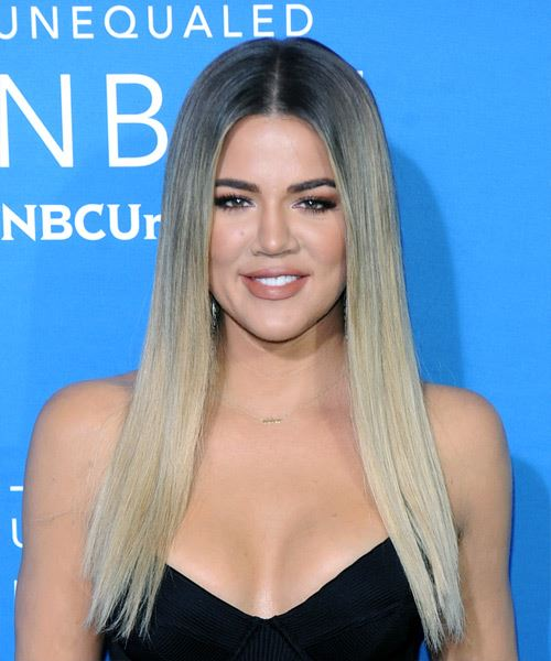 Khloe Kardashian Long Straight   Light Blonde   Hairstyle