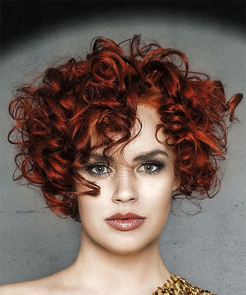 Short Curly Dark Red Hairstyle with Layered Bangs