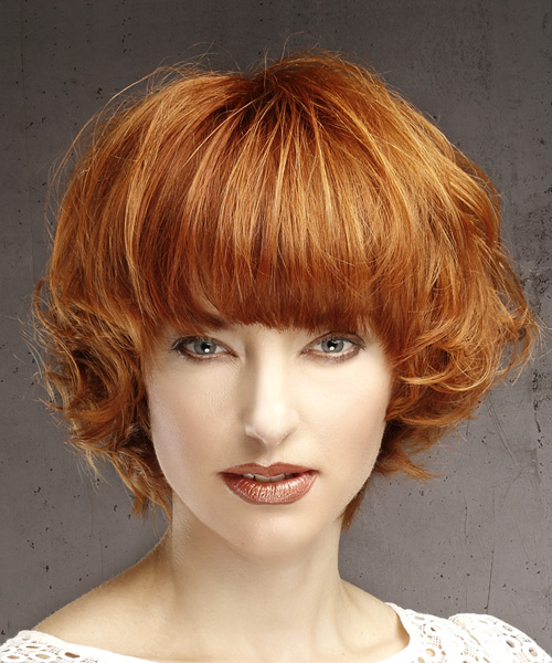 Casual Short Wavy Bob Hairstyle With Blunt Cut Bangs Red Hair Color
