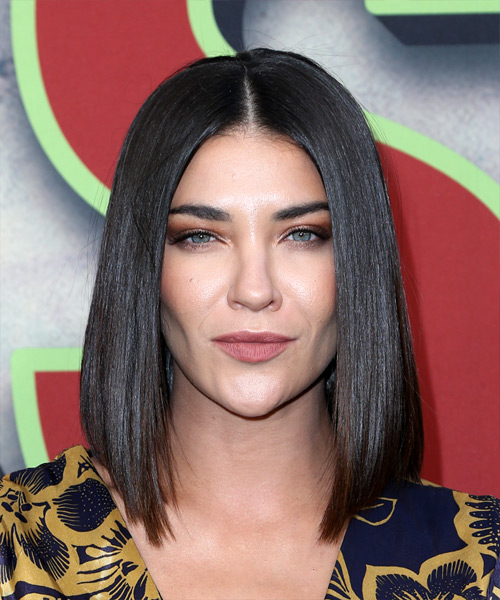 Jessica Szohr Medium Straight   Dark Brunette Bob  Haircut
