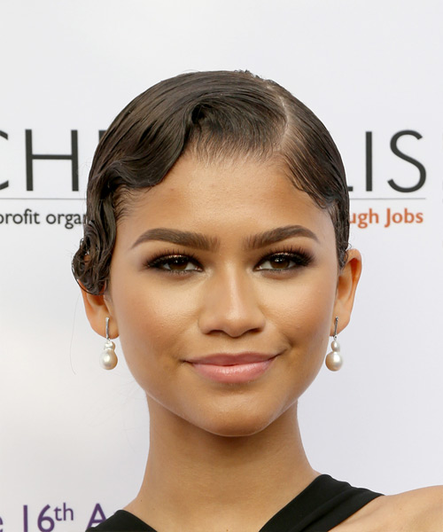 Zendaya Short Wavy Formal   Updo Hairstyle   - Dark Brunette Hair Color