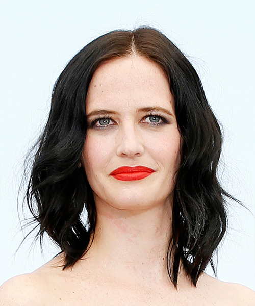 Eva Green Medium Wavy Casual Bob  Hairstyle   - Black
