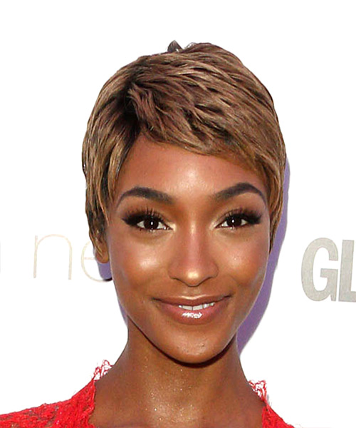 Jourdan Dunn Light Brunette Pixie Hair Cut with Layered Bangs and Coarse Hair Texture
