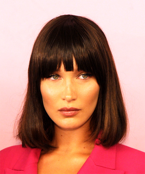 Bella Hadid Medium Straight Formal  Bob  Hairstyle with Blunt Cut Bangs  - Dark Brunette Hair Color