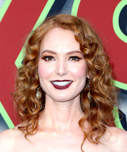 Alicia Witt Medium Curly Casual Hairstyle Red Hair Color