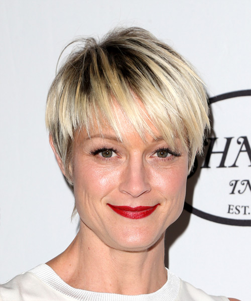 Terri Polo Short Straight Casual  Pixie  Hairstyle with Side Swept Bangs  - Light Blonde Hair Color