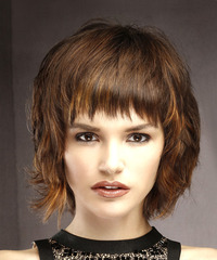 Short Straight Casual  Shag  Hairstyle with Layered Bangs  -  Brunette Hair Color