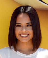Becky G Medium Straight Formal  Bob  Hairstyle   - Dark Brunette Hair Color
