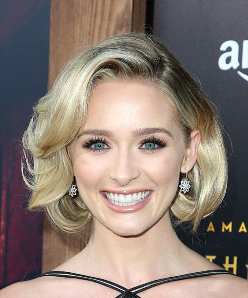 Greer Grammer Short Wavy Formal Bob  Hairstyle   - Light Blonde