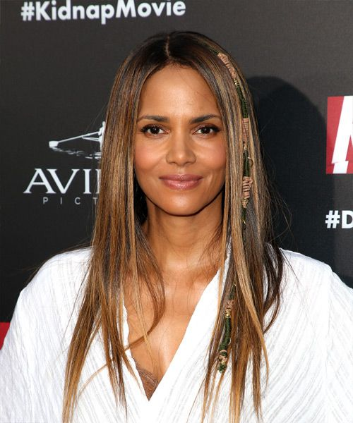 Halle Berry Long Straight Casual    Hairstyle   -  Brunette Hair Color