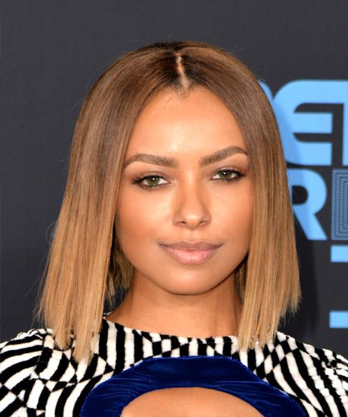 Kat Graham Medium Straight Formal  Bob  Hairstyle   - Light Brunette Hair Color