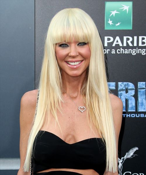 Tara Reid Long Straight Formal   Hairstyle with Blunt Cut Bangs  - Light Blonde