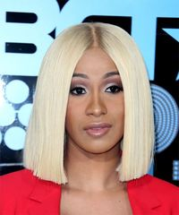 Cardi B Medium Straight Formal  Bob  Hairstyle   - Light Blonde Hair Color