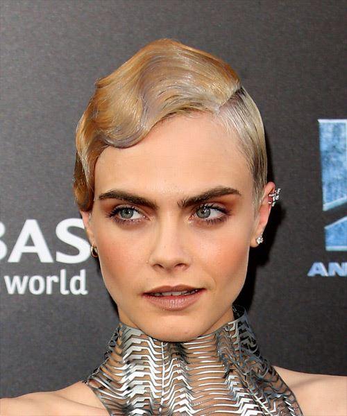 Cara Delevingne Short Straight Formal Pixie  Hairstyle   - Light Blonde