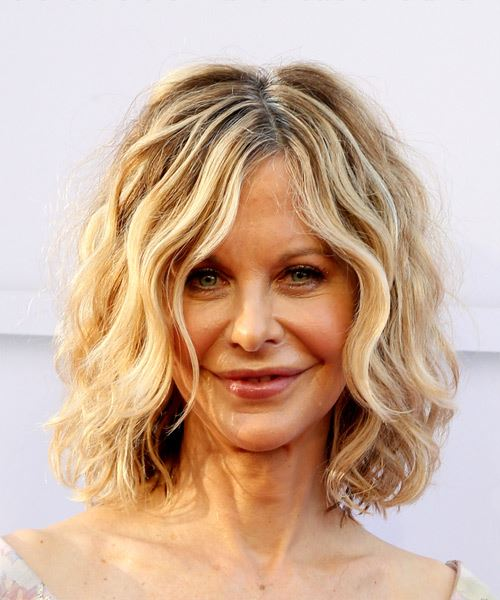 Meg Ryan Medium Wavy Casual  Bob  Hairstyle   - Light Blonde Hair Color