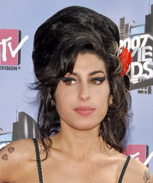Amy Winehouse Long Wavy Alternative   Updo Hairstyle