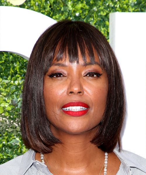 Aisha Tyler Medium Straight Formal Bob  Hairstyle with Blunt Cut Bangs  - Dark Brunette