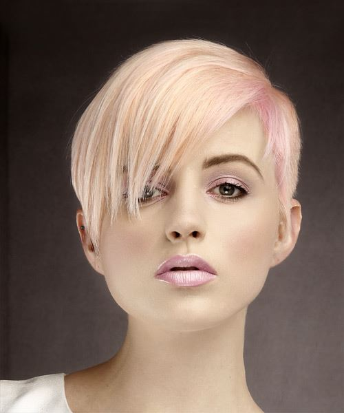 Short Straight Formal Pixie  Hairstyle with Side Swept Bangs  - Pink