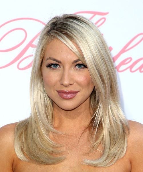 Stassi Schroeder Medium Straight Casual   Hairstyle with Side Swept Bangs  - Light Blonde (Ash)