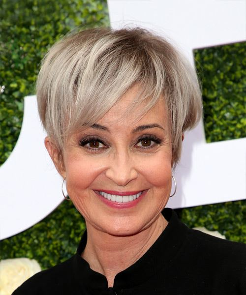 Annie Potts     Light Grey Pixie  Cut with Side Swept Bangs