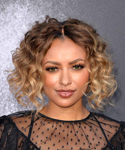 Kat Graham Short Curly Casual Bob  Hairstyle   - Dark Blonde