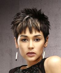 Short Straight Casual  Pixie  Hairstyle with Razor Cut Bangs  - Dark Brunette Hair Color with  Blonde Highlights