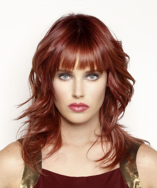 Long Wavy Casual   Hairstyle with Blunt Cut Bangs  - Dark Red