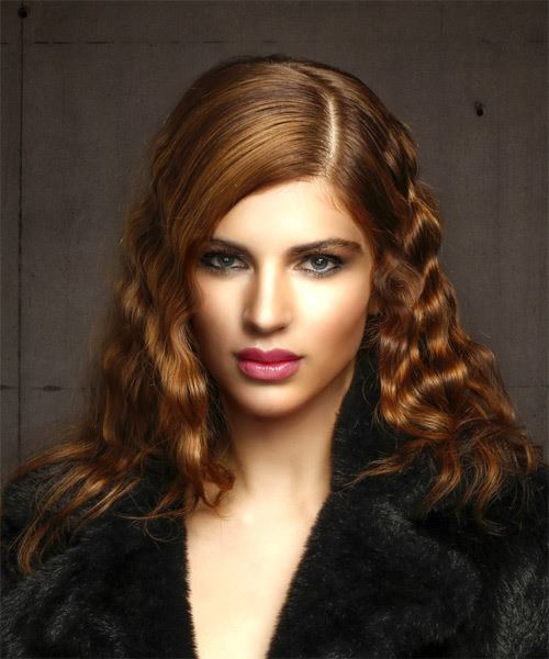 Medium Curly   Dark Red   Hairstyle