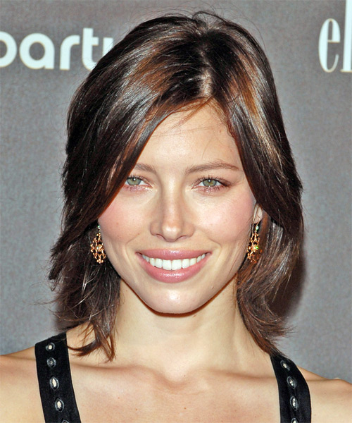 Jessica Biel Medium Straight Casual   Hairstyle with Side Swept Bangs
