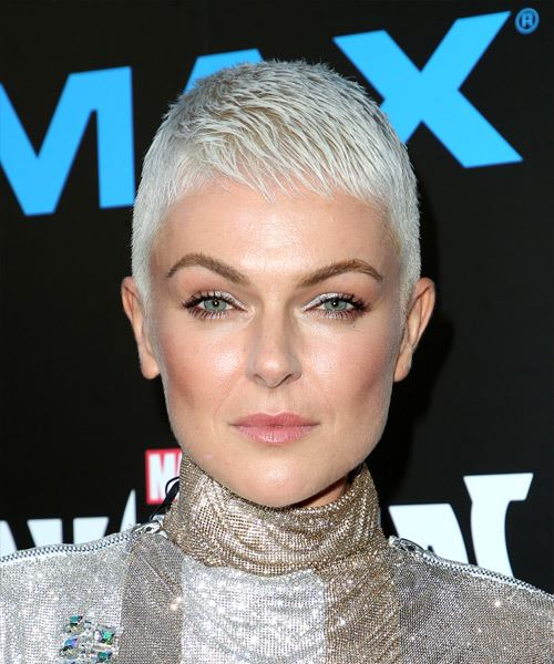 Serinda Swan     Light Platinum Blonde Pixie  Cut with Layered Bangs