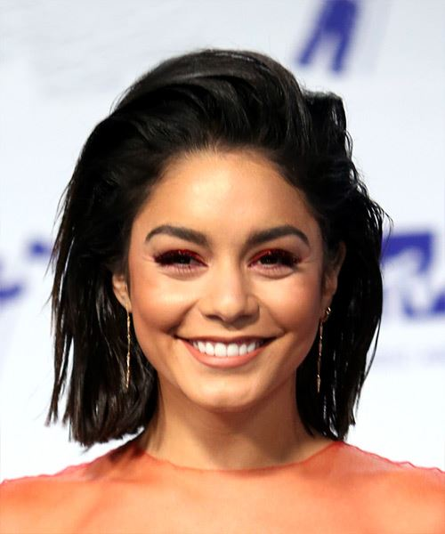 Vanessa Hudgens Medium Straight Casual  Bob  Hairstyle   - Black  Hair Color