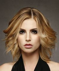 Medium Wavy Casual  Bob  Hairstyle   - Dark Honey Blonde Hair Color with Light Blonde Highlights