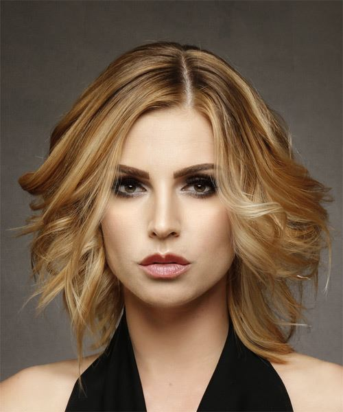 Medium Wavy Casual Bob Hairstyle - Dark Blonde (Honey)