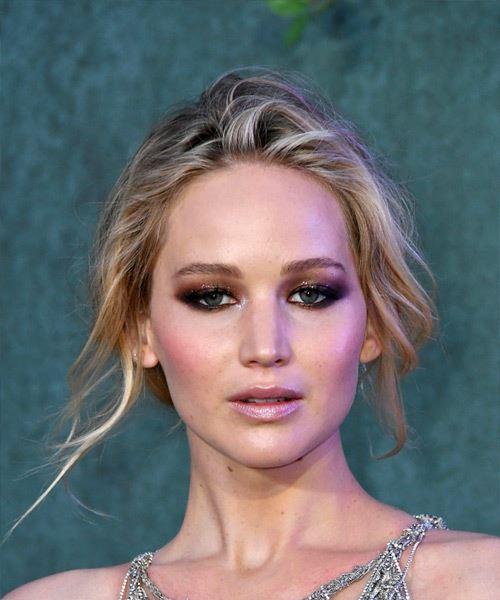 Jennifer Lawrence Medium Straight Casual Bob Updo Hairstyle   - Light Blonde
