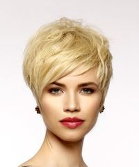 Light Honey Blonde Pixie  Cut with Side Swept Bangs