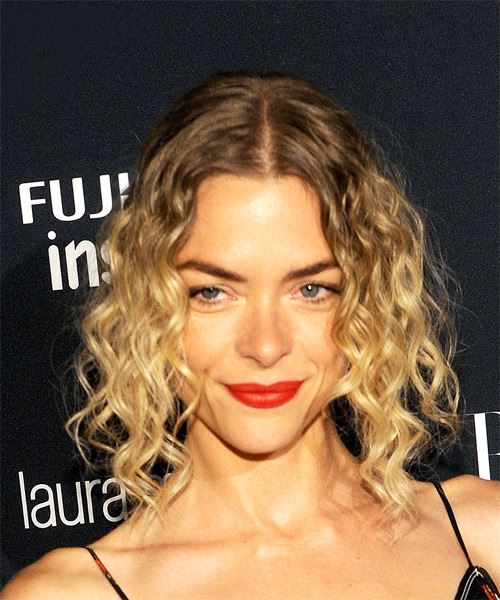 Jaime King Medium Curly Casual Bob Half Up Hairstyle   - Medium Blonde