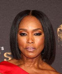 Angela Bassett Short Straight Formal  Bob  Hairstyle   - Black  Hair Color