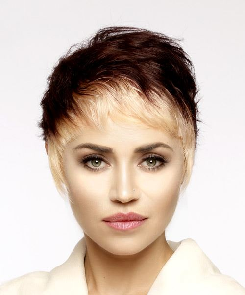 Light Blonde and Mahogany Two-Tone Pixie  Cut with Asymmetrical Bangs