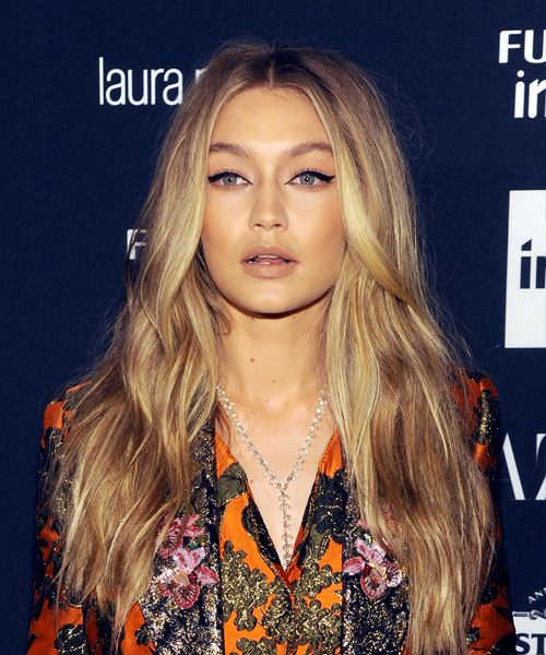 Gigi Hadid Long Wavy Hairstyle - Medium Honey Blonde Hair Color