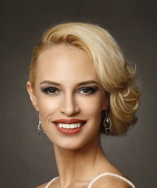 Long Straight Formal Wedding Updo Hairstyle with Side Swept Bangs  - Light Blonde (Golden)