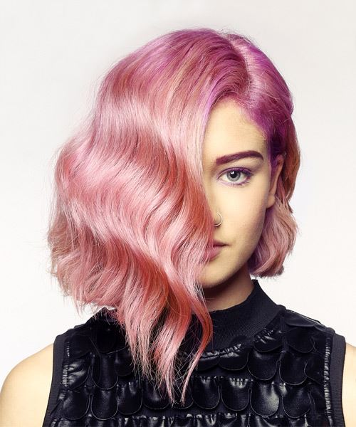 Wavy bob hairstyle with pink and purple ombre bayalage effect